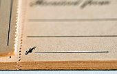 Blank portion of an old vintage receipt book.