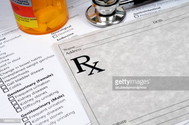 Blank prescription pad and other medical elements
