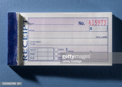 Blank Receipt In Receipt Book Overhead View Closeup Photo – Blank Receipt