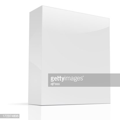 Blank rectangular box standing up on a white background