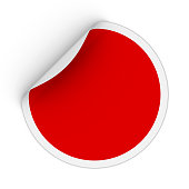 Blank Red Circle Sticker with Peeling Corner 3D Illustration