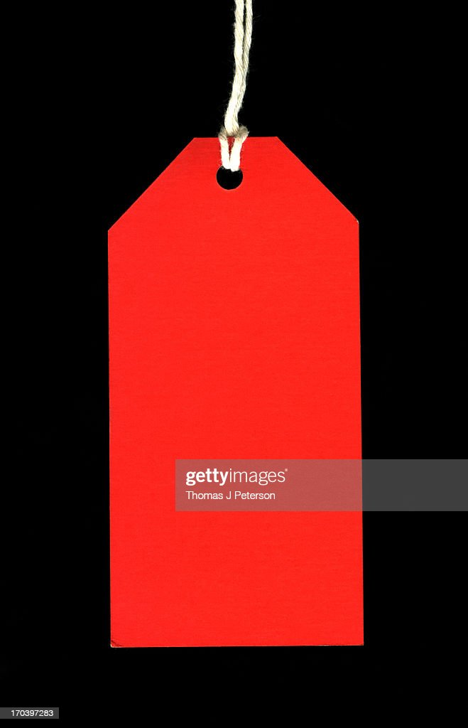 Blank red paper tag