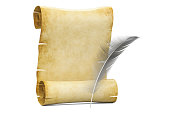 Blank roll of papyrus with feather, 3D rendering  isolated on white background