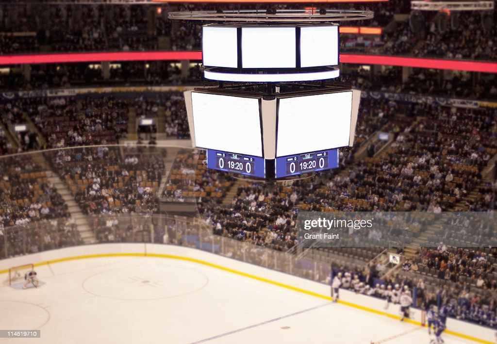 Blank scoreboard at hockey game. : Stock Photo