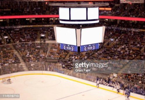 Blank scoreboard at hockey game.