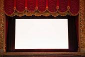 Blank screen in ornate movie theater