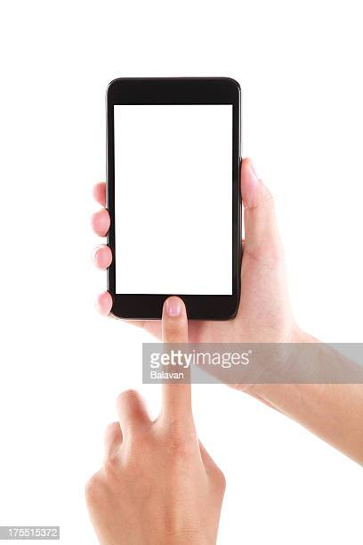 Blank screen mobile phone in hand isolated-XXXL