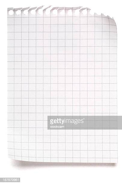 Blank sheet of maths paper on white