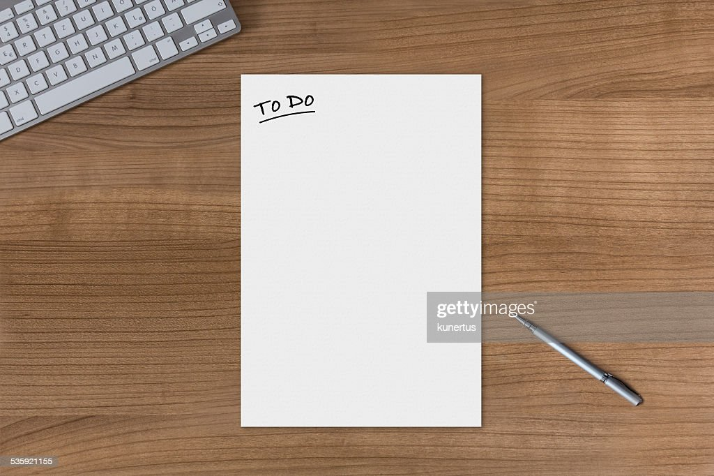 Blank sheet To Do on a wooden table : Stock Photo