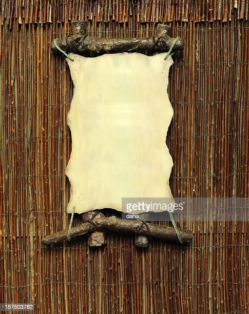 Leere Schild auf Bambus-Wand