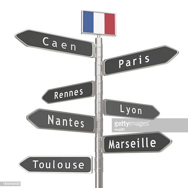 Blank Signpost - France Cities