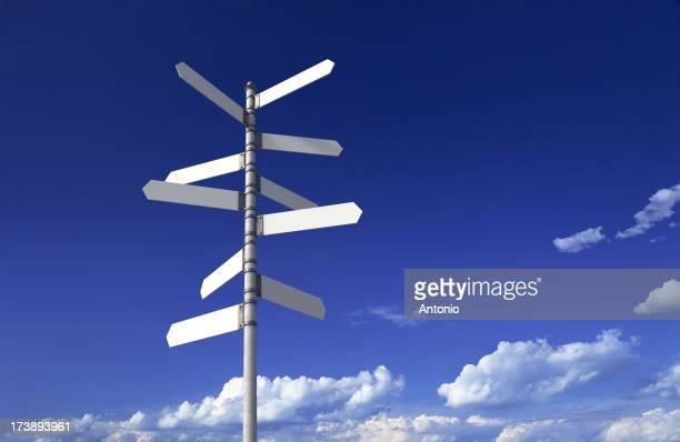 Blank signpost on a blue sky background