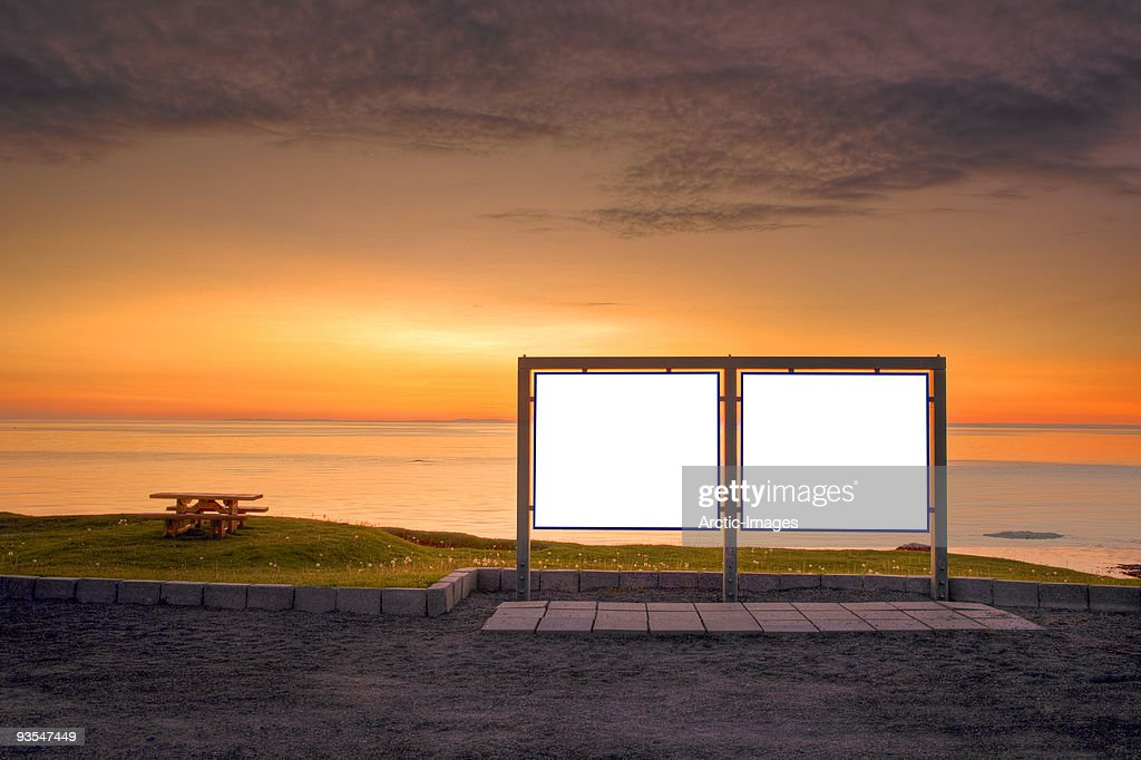 Blank signs at sunset : Stock Photo