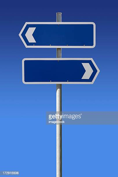Blank signs on blue sky