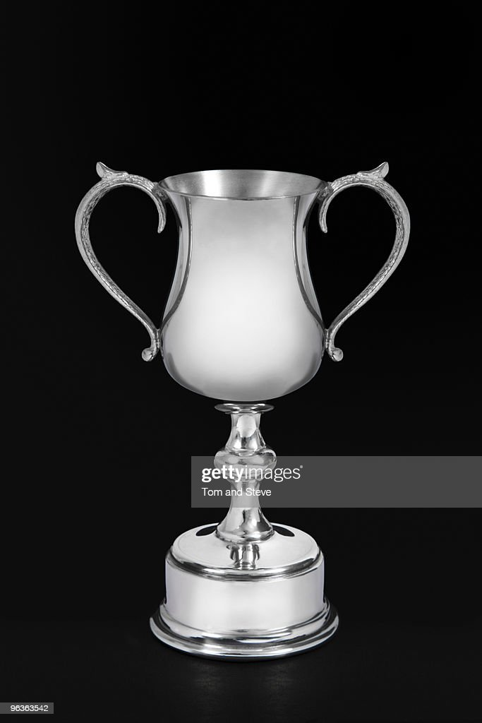 Blank Silver Trophy on black background : Stock Photo