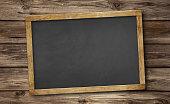 Blank slate blackboard and wooden background.