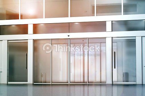 Blank sliding glass doors entrance mockup : ストックフォト