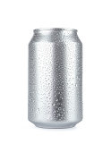 Wet aluminum soda can isolated on white background with copy space