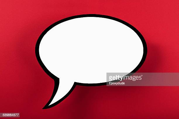 Blank speech bubble against red background