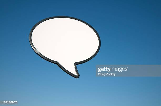 Blank Speech Bubble Outdoors in Blue Sky