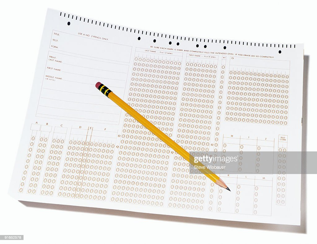 Blank standardized multiple choice test form : Stock Photo