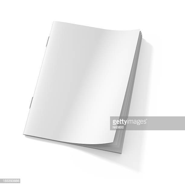 Blank stapled booklet on white paper