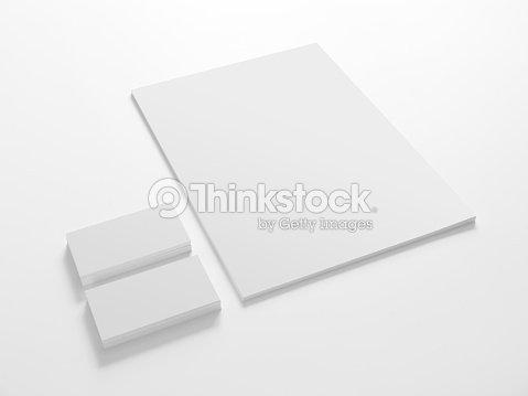 Leere Briefpapier Und Visitenkarten Vorlage Stock Foto