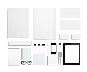 Blank Stationery and Corporate ID Template on wooden background. Consist of Business cards, letterhead a4, Tablet PC, usb flash drive, bages, pen, envelopes, glasses, tube, folder, notes and smart pho