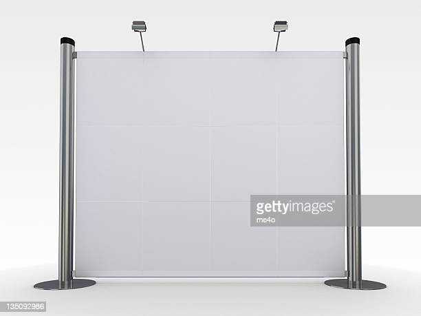 Blank steel display stand with lighting on white background