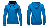 Blank sweatshirt template, front and back view, isolated on white background with clipping path, blue hoodie mock-up. clothes hoody sweater design presentation for print.