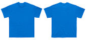 Blank T Shirt color royal blue template front and back view on white background