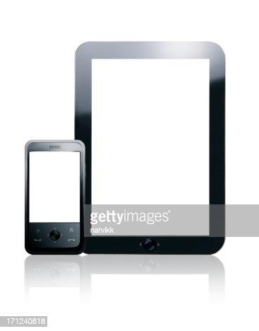 blanc tablette et t l phone portable photo getty images. Black Bedroom Furniture Sets. Home Design Ideas