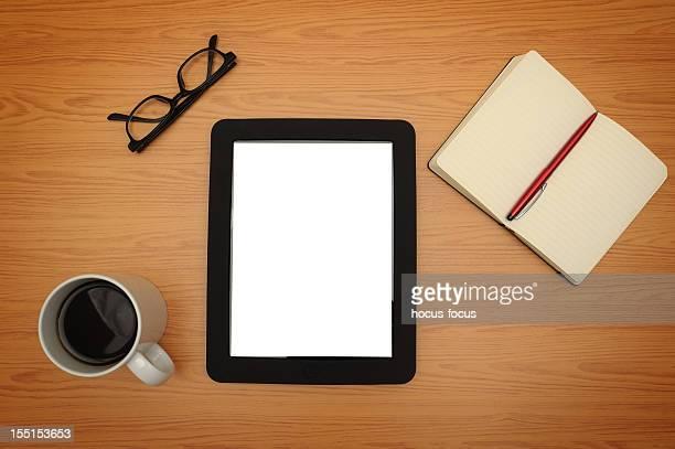 Blank tablet pc on a desk