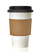 Blank take away coffee cup and sleeve with clipping path on white background