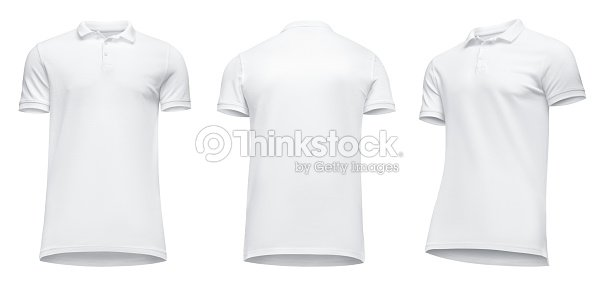 blank template men white polo shirt short sleeve front view half