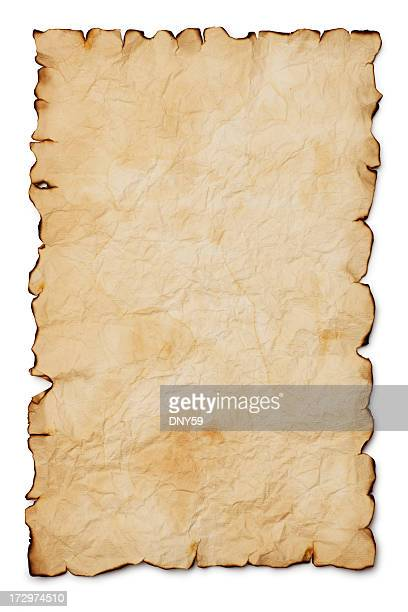Blank treasure map with burnt edges on white background