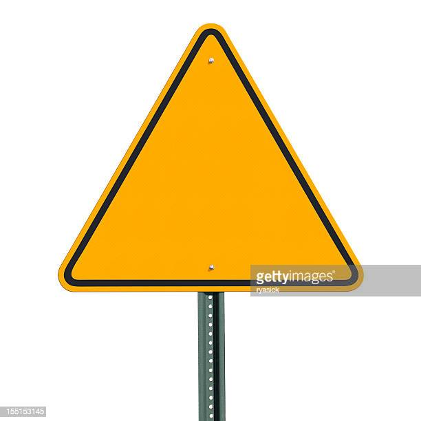 Blank Triangular Warning Sign Post Isolated with Clipping Path