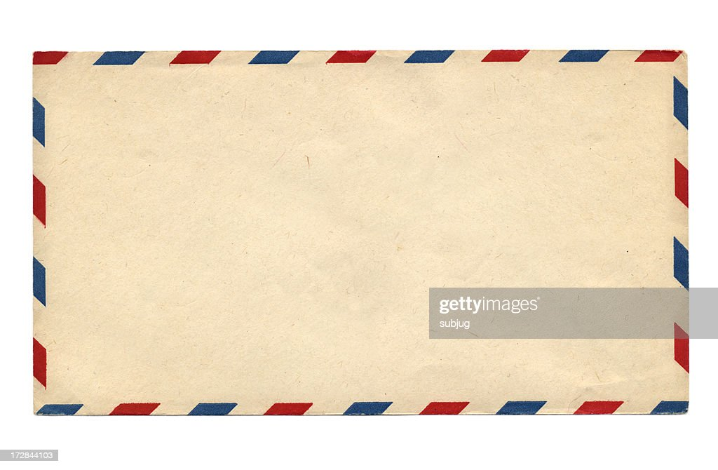 blank vintage air mail envelope with red and blue stripes