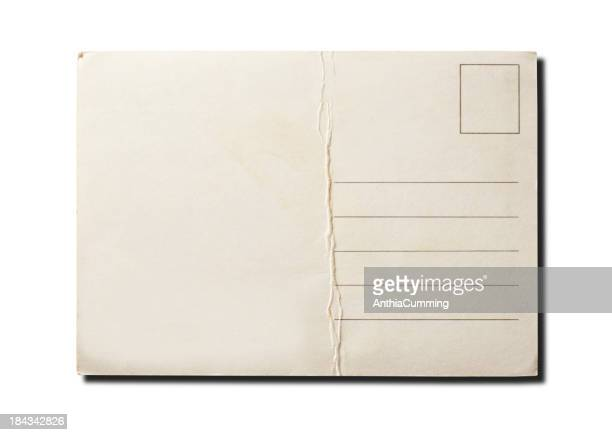 Blank vintage postcard isolated on white background