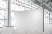 Blank wall mockup in modern empty gallery