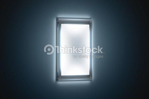 Blank white a3 poster mockup in illuminated glass holder : Foto de stock