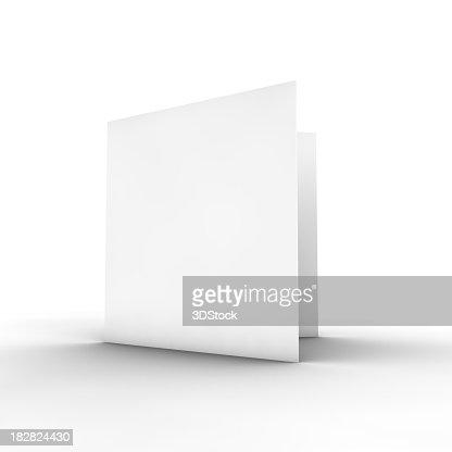 Blank white bifold brochure on white