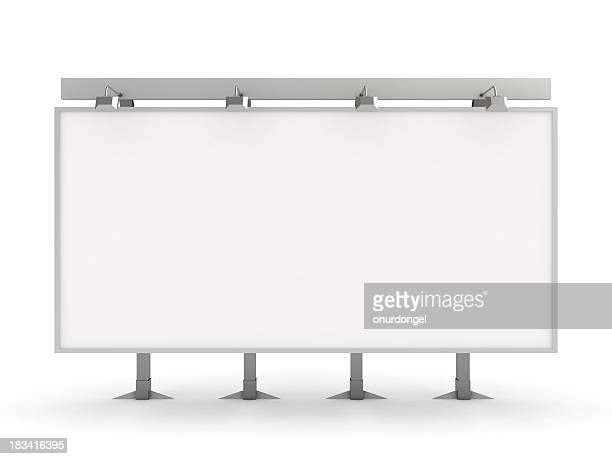 Blank white billboard over a white background