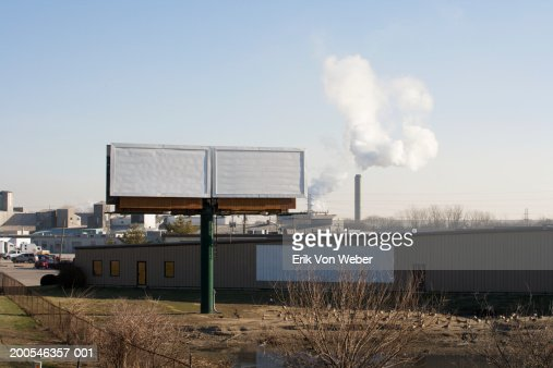 Blank white billboards by roadside above flock of geese : Stock-Foto