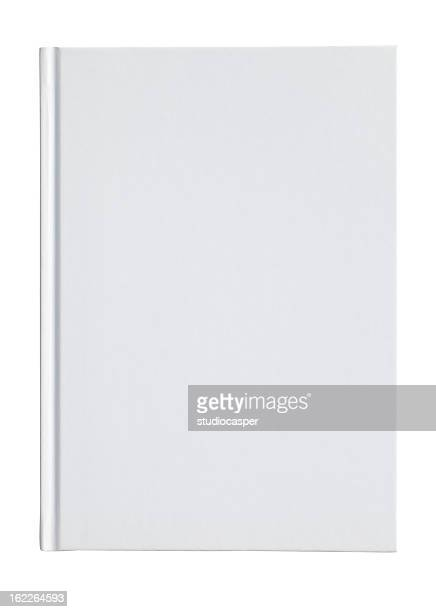 Blank white book cover on a white background