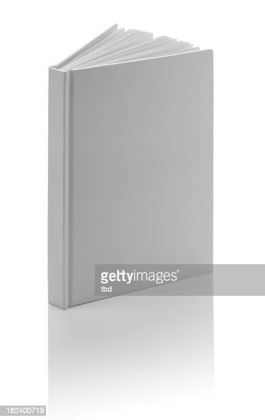 A blank white book slightly open and a white background