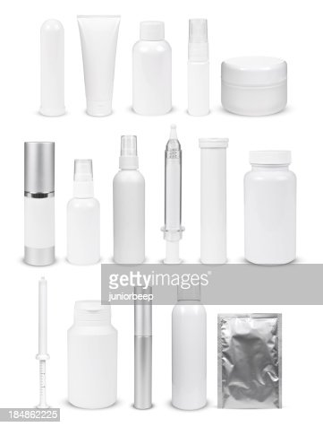 blank white bottles and containers