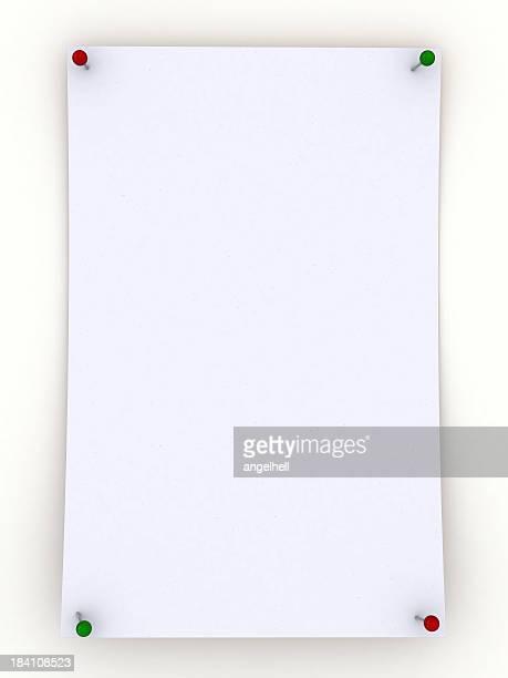 Vuoto nota Bianco carta appuntato
