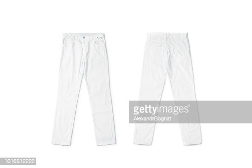 Blank white pants lying mock up, front and back side : Stock Photo
