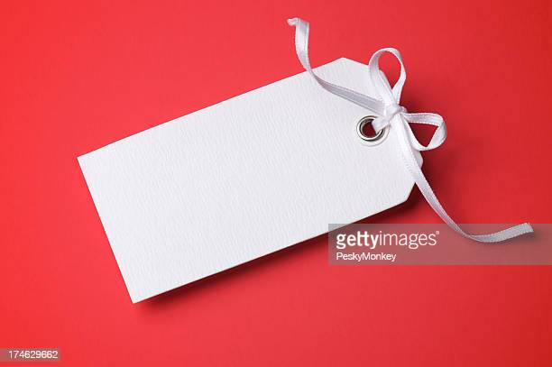 Blank White Paper Gift Tag on Red Background